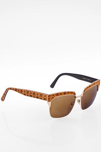MCM 665S Rose Gold Metal and Cognac Acetate Sunglasses