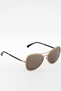 Chanel 4227Q Gold-Black Aviator Metal Sunglasses
