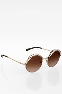 Chanel Gold Metal Round Sunglasses with Imitation Pearls