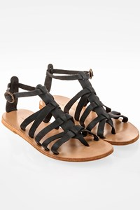 Valia Gabriel Black Leather Gladiator Style Sandals / Size: 39 - Fit: 38.5