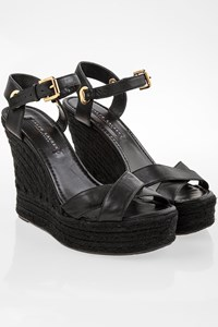Ralph Lauren Black Leather Platforms with Raffia / Size: 8 - Fit: 38.5