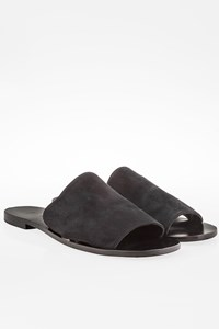 Zeus + Dione Black Suede Flat Sandals / Size: 39 - Fit: True to size