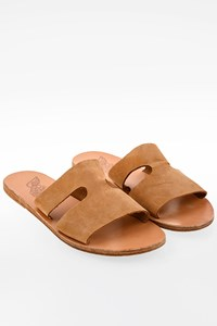 Ancient Greek Sandals Beige Apteros Nubuck Flat Sandals / Size: 39 - Fit: 38.5