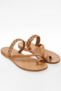 Valia Gabriel Tan-Rose Gold Leather Flat Sandals / Size: 39 - Fit: 38.5