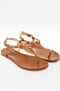 Vince Camuto Tan Leather Flat Sandals with Gold Studs / Size: 38 - Fit: 39