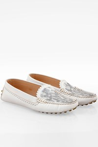 Tod's White Leather Loafers with Sequins / Size: 38.5 - Fit: True to size