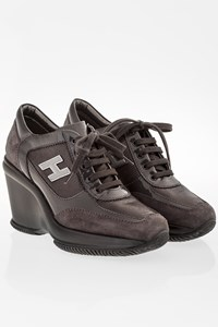 Hogan Grey Suede  Active High Heel Sneakers / Size: 35.5 - Fit: True to size