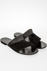 Zeus + Dione Apollo Black Leather-Suede Sandals / Size: 40 - Fit: 39