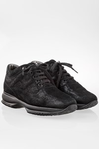 Hogan Black Interactive Shiny Suede Sneakers / Size: 37.5 - Fit: 38.5