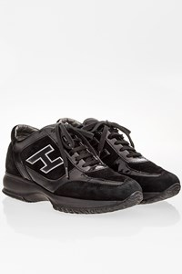 Hogan Black Suede and Patent Leather Interactive Sneakers / Size: 35.5 - Fit: 36.5