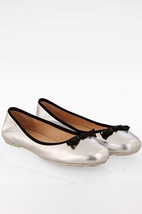Marc Jacobs Silver Metalic Ballerinas with Bow / Size: 40 - Fit: True to size
