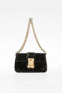 Le Solim Grey Velvet Pochette with Gold Chain