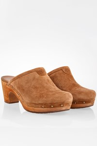 Ugg Tan Suede Clogs with Wooden Heels / Size: 41 - Fit: 40