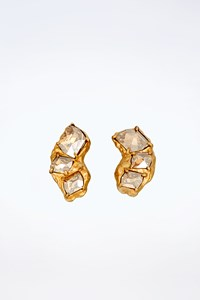Miu Miu Gold Plated Earrings with Stones