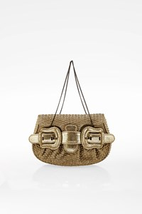 Fendi Gold Clutch with Leather and Canvas