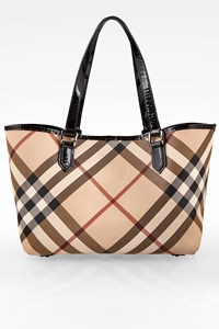 Burberry Beige Supernova Tote Bag with Black Patent Leather