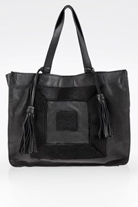 Themis Z Black Infinity Leather Tote Bag with Pony Hair Logo