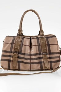 Burberry Beige Beat Check Print Tote Bag
