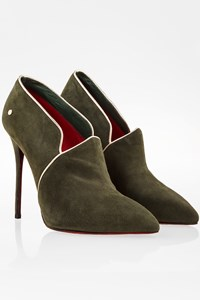 Cesare Paciotti Forest Green Suede and Gold Leather Cap Toe Ankle Boots / Size: 40 - Fit: 39