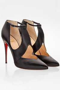 Christian Louboutin Black Leather Ankle Strap Pointed Toe Booties / Size: 40 - Fit: 39