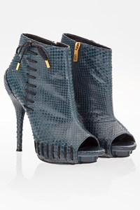 Versace Blue Snakeskin Peep-toe Booties / Size: 39 - Fit: True to size