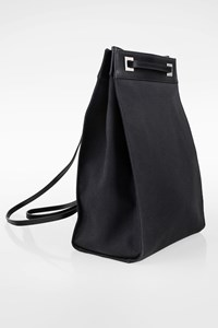 Gucci Black Canvas Backpack with Black Leather Details