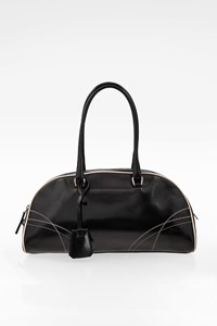 Prada Black Leather Bauletto Handbag