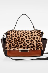 DVF Tricolor Leather and Leopard-print Calf Hair Shoulder Bag