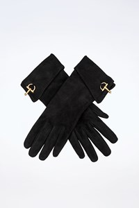 Gucci Black Suede Gloves with Horsebit