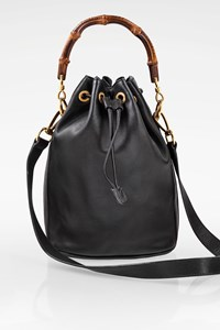 Gucci Vintage Black Leather Bamboo Handle Bucket Bag
