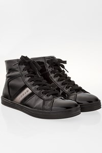 Hogan Black Patent Leather Bootie Sneakers / Size: 36.5 - Fit: 37.5