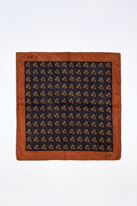 Gucci Blue Logo Printed Small Scarf with Brown Trim