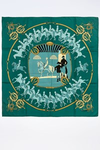 Hermès Manege Teal Blue Silk Printed Scarf