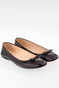 Prada Black-Purple Graduated Patent Leather Ballerinas / Size: 37 - Fit: True to size