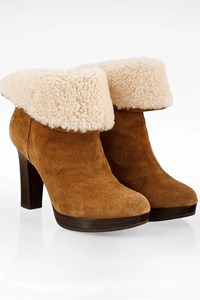 Ugg Tan Dandylion Chestnut Suede Heeled Boots / Size: 39 - Fit: True to size