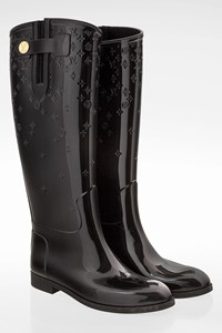 Louis Vuitton Black Monogram Drops Rain Boots / Size: 39 - Fit: True to size