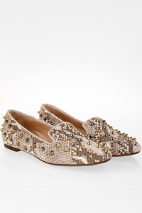 Sweet Ballerina Pinrock Snakeskin Effect Ballerinas with Studs / Size: 37.5 - Fit: 38