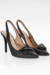 Valentino Black Leather Slingbacks / Size: 38 - Fit: True to size