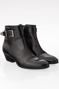 Barbara Bui Black Leather Booties with Strap / Size: 37.5 - Fit: 38