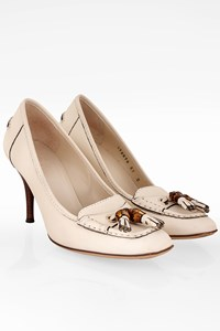 Gucci Off-White Hilton Lifford Leather Pumps / Size: 37C - Fit: True to size