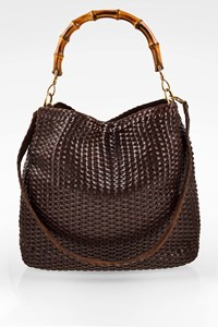 Gucci Bamboo Handle Brown Woven Leather Bag
