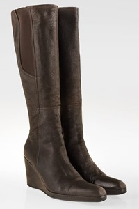 Prada Sport Brown Leather Platform Boots / Size: 38 - Fit: 38.5