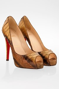 Christian Louboutin Gold-Bronze Peep-Toe Python Leather Pumps / Size: 36.5 - Fit: True to size