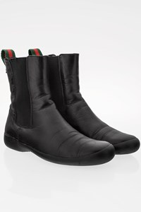 Gucci Black Leather Flat Booties / Size: 36C - Fit: 37
