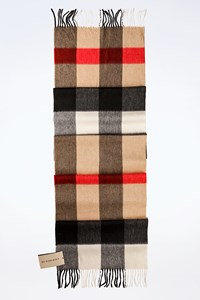 Burberry Beige-Red-Black Check Printed Cashmere Scarf