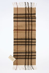Burberry Beige Smoked Check Printed Cashmere Scarf