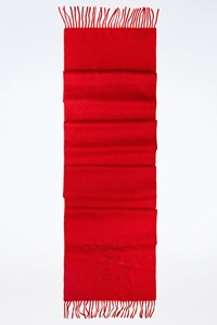 Burberry Red Cashmere Scarf with Fringes