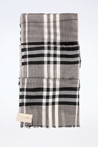 Burberry Grey Check Print Silk Scarf
