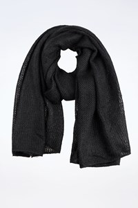 Ozbek Black Mohair Wide Scarf