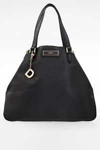 Dkny Black Leather Shoulder Bag with Side Zippers